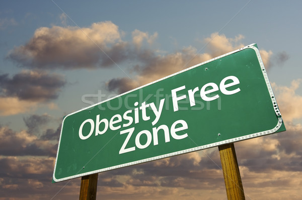 Obesity Free Zone Green Road Sign and Clouds Stock photo © feverpitch