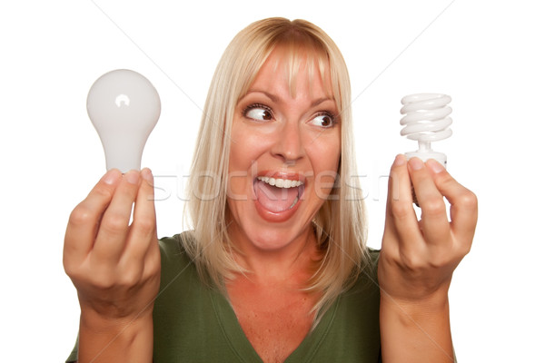 Woman Holds Energy Saving and Regular Light Bulbs Stock photo © feverpitch