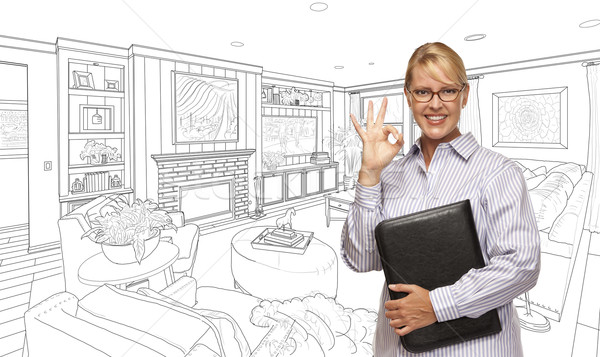 Woman with Okay Sign Over Living Room Drawing Photo Stock photo © feverpitch