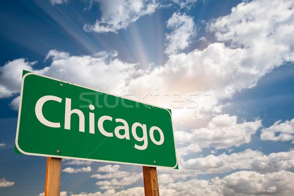 Chicago groene verkeersbord wolken dramatisch hemel Stockfoto © feverpitch
