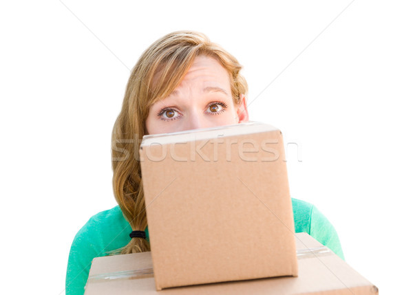 Happy Young Adult Woman Holding Moving Boxes Isolated On A White Stock photo © feverpitch