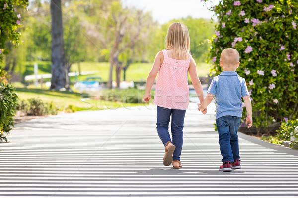 Genç kardeş kardeş el ele tutuşarak yürüyüş park Stok fotoğraf © feverpitch