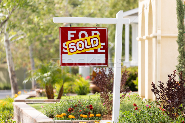 Sold Home For Sale Real Estate Sign in Front of New House Stock photo © feverpitch