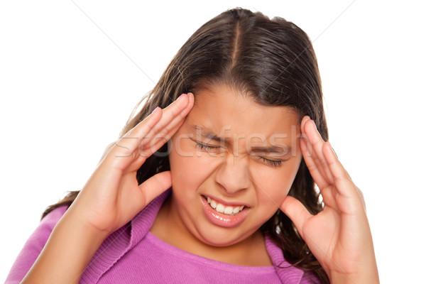 Mooie latino meisje hoofdpijn geïsoleerd witte Stockfoto © feverpitch