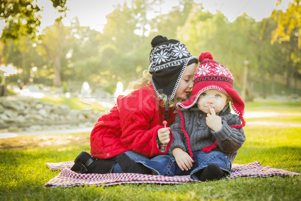 Little Girl Whispers A Secret to Baby Brother Outdoors Stock photo © feverpitch