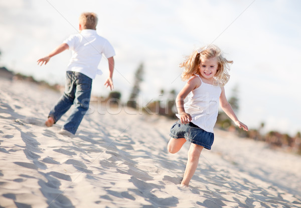 Foto stock: Adorable · hermano · hermana · playa · uno