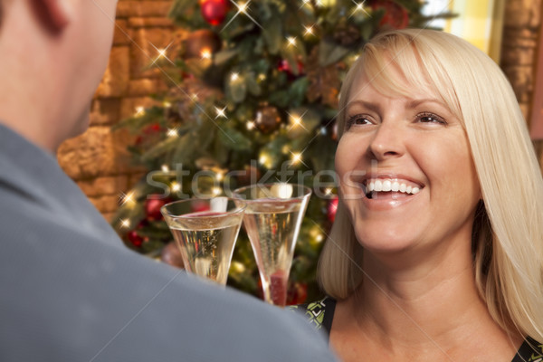 Girl Socializing with Champagne Glass At Christmas Party Stock photo © feverpitch