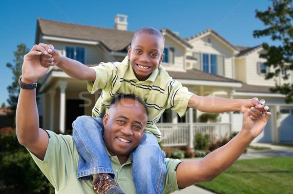 Сток-фото: отцом · сына · домой · афроамериканец · семьи