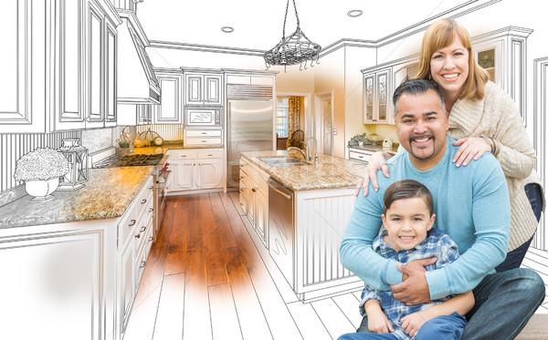 Stockfoto: Jonge · halfbloed · familie · keuken · tekening · foto