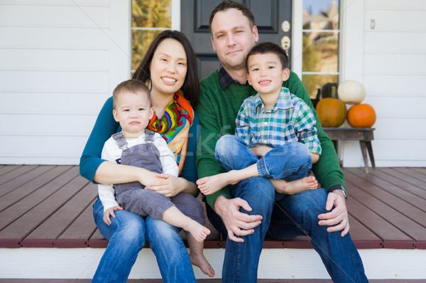 Mixed Race Chinese and Caucasian Young Family Portrait Stock photo © feverpitch