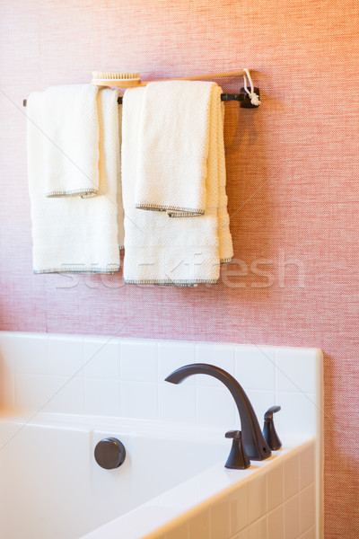 New Modern Bathtub, Faucet and Towels Hanging Abstract Stock photo © feverpitch