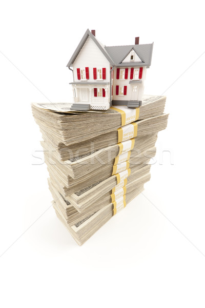 Small House on Stacks of Hundred Dollar Bills Stock photo © feverpitch