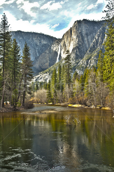 Yosemite реке hdr драматический изображение трава Сток-фото © feverpitch