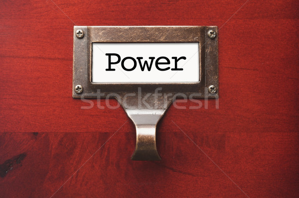 Stock photo: Lustrous Wooden Cabinet with Power File Label