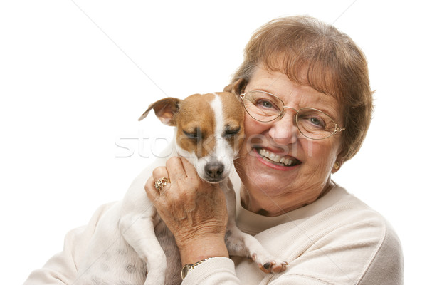 Happy Attractive Senior Woman with Puppy Stock photo © feverpitch