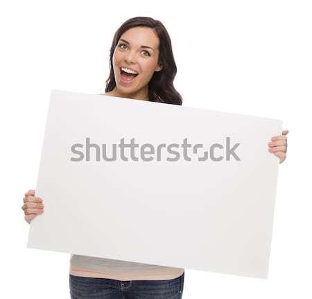 Gyönyörű félvér női tart üres tábla fehér Stock fotó © feverpitch