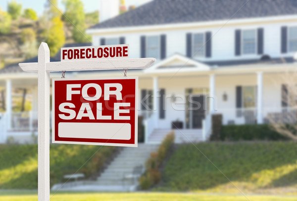 Foreclosure Home For Sale Sign in Front of Large House Stock photo © feverpitch