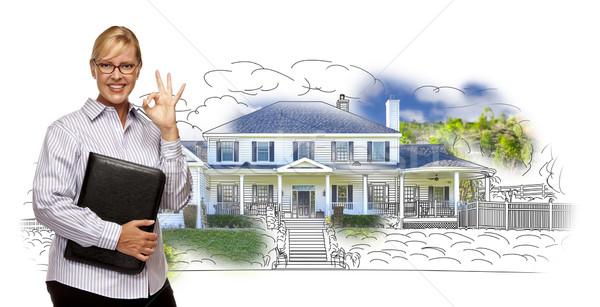 Mujer bueno signo casa dibujo foto Foto stock © feverpitch
