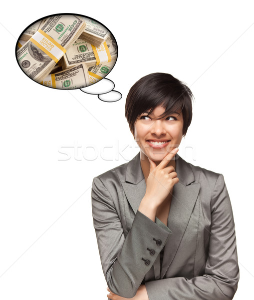 Beautiful Multiethnic Woman with Thought Bubbles of Money Stacks Stock photo © feverpitch