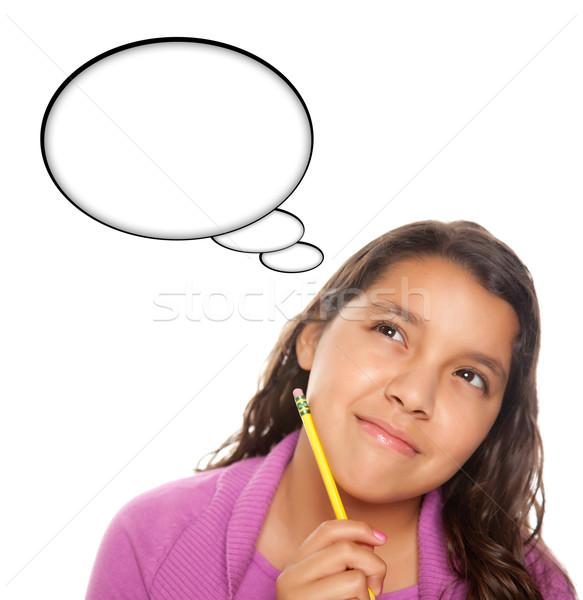 Hispanos adolescente nina lápiz burbuja de pensamiento Foto stock © feverpitch