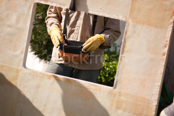 Utilidade trabalhador remoto guindaste couro luvas Foto stock © feverpitch