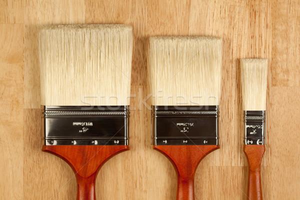 Foto stock: Pintar · madeira · superfície · três · diferente · novo