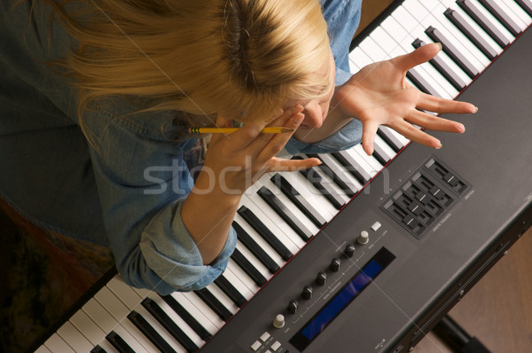 Kreatív frusztráció nő feliratok fény billentyűzet Stock fotó © feverpitch