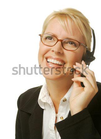 Gyönyörű szőke nő ügyfélszolgálat nő headset izolált Stock fotó © feverpitch