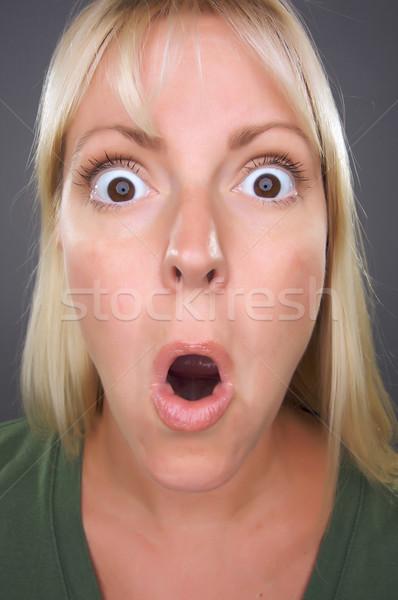 Stock fotó: Megrémült · szőke · nő · vicces · arc · szürke · lány