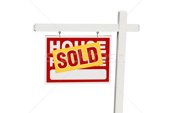 Yalıtılmış ev satış imzalamak beyaz Stok fotoğraf © feverpitch