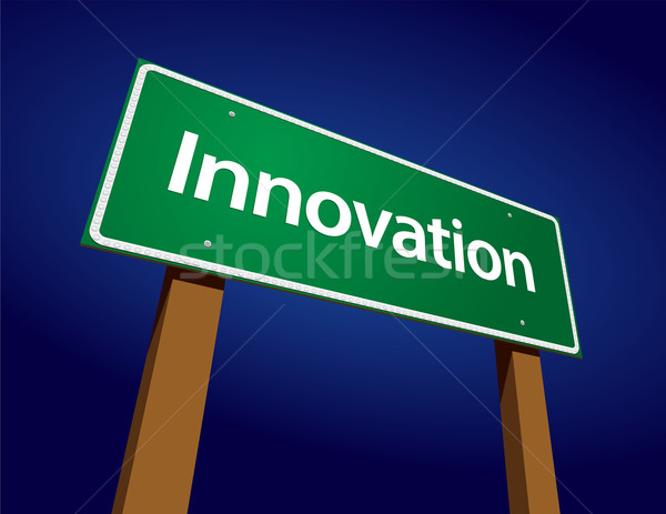 Stock fotó: Innováció · zöld · jelzőtábla · illusztráció · égbolt · művészet