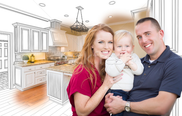 Military Family In Front of Kitchen Drawing Photo Combination Stock photo © feverpitch