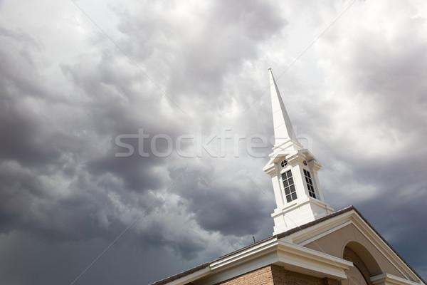 教会 塔 不吉 嵐の 雷雨 ストックフォト © feverpitch
