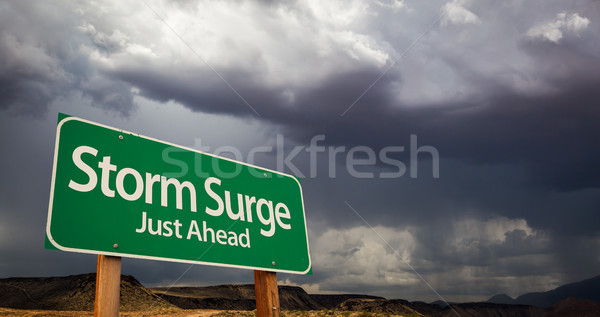 Storm Surge Just Ahead Green Road Sign and Stormy Clouds Stock photo © feverpitch