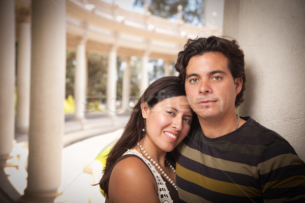 Feliz atractivo hispanos Pareja parque Foto stock © feverpitch