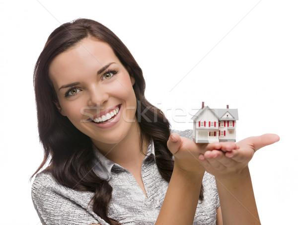 Mosolyog félvér nő tart kicsi ház Stock fotó © feverpitch