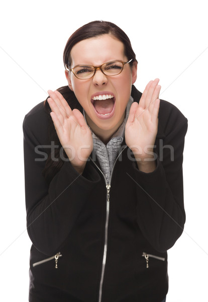 Angry Mixed Race Businesswoman Yelling at Camera Isolated on Whi Stock photo © feverpitch