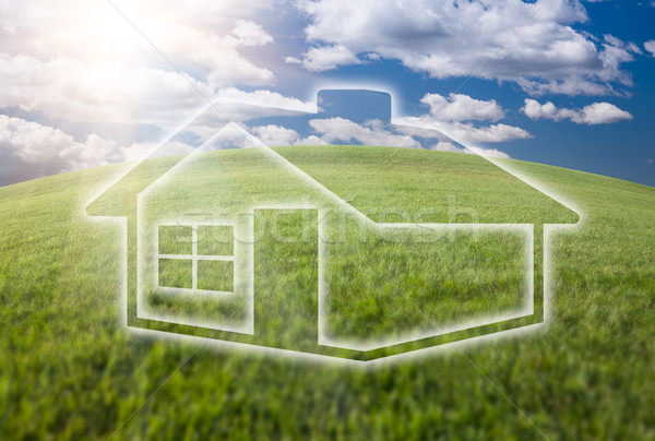 Dreamy House Icon Over Grass Field and Sky Stock photo © feverpitch