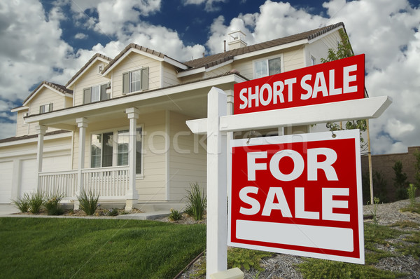 Short Sale Home For Sale Sign and House Stock photo © feverpitch