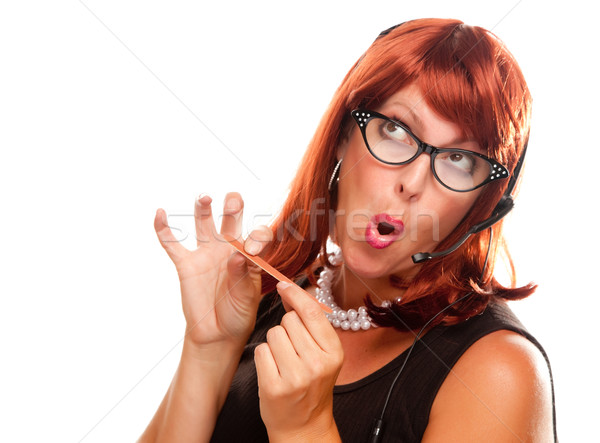 Red Haired Retro Receptionist Stock photo © feverpitch