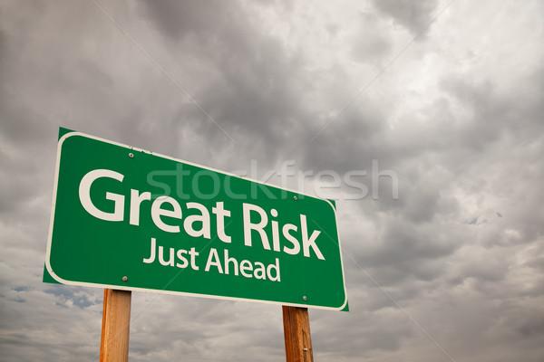 Сток-фото: риск · зеленый · дорожный · знак · впереди