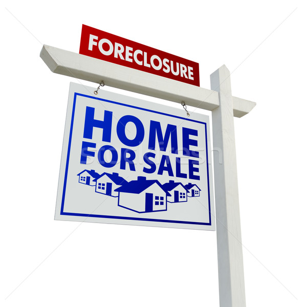 Red and Blue Foreclosure Home For Sale Real Estate Sign on White Stock photo © feverpitch