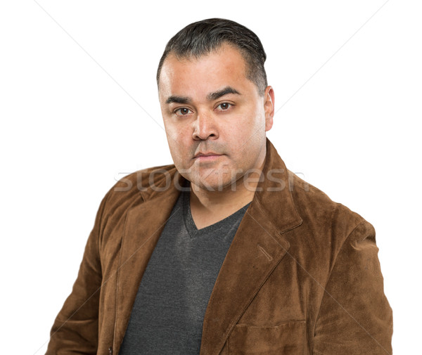 Handsome Young Hispanic Male Headshot Portrait Against White Bac Stock photo © feverpitch