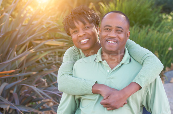 Attractive Happy African American Couple Portrait Outside Stock photo © feverpitch