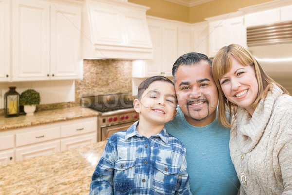 Stock photo: Young Mixed Race Family Having in Beautiful Custom Kitchen