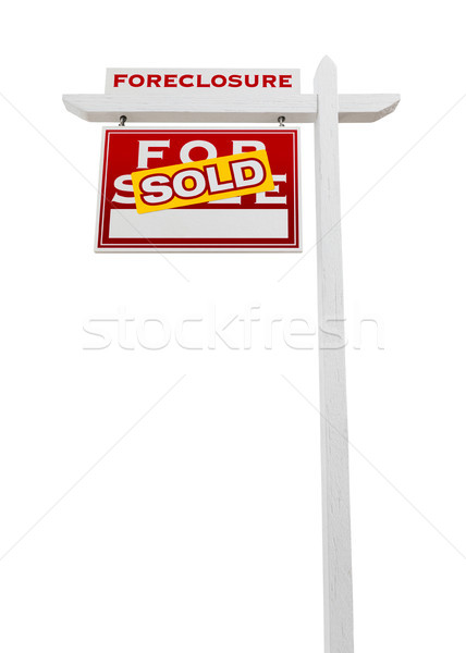 Stock photo: Left Facing Foreclosure Sold For Sale Real Estate Sign Isolated