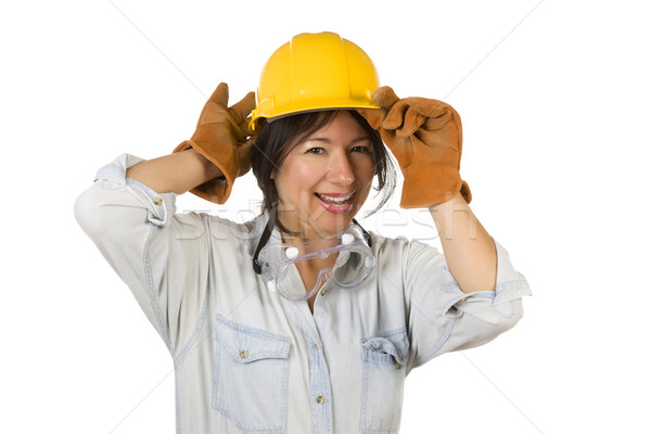 Attractive Hispanic Woman with Hard Hat, Goggles and Work Gloves Stock photo © feverpitch