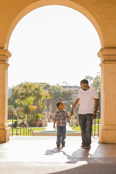 Stock photo: Mixed Race Father and Son Walking in the Park