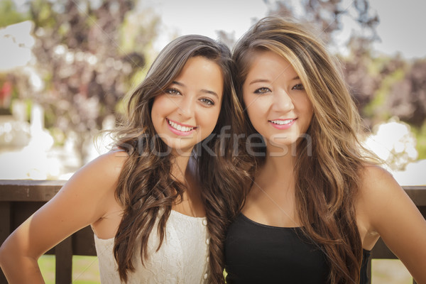 Stock photo: Attractive Mixed Race Girlfriends Smile Outdoors
