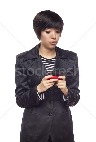 Expressive Mixed Race Woman with Cell Phone on White Stock photo © feverpitch
